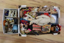 A collection of vintage toys, comprising five 1930's miniature 'Winnie the Pooh' soft toys (