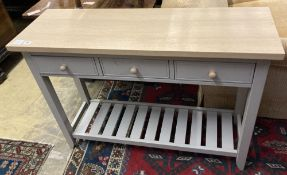 A modern beech topped hall table, the grey painted base fitted three drawers, width 110cm depth 35cm