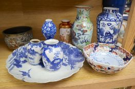 A group of Chinese and Japanese porcelain and a bronze bowl (10)