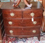 A bow front mahogany chest of drawers, width 84cm, depth 47.5cm, height 86cm