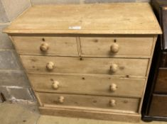 An Edwardian pine chest of drawers, width 97cm, depth 46cm, height 94cm
