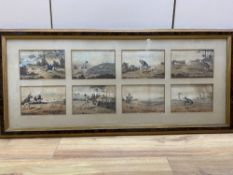 After Robert Frankland, a set of eight coloured engravings, Shooting, each 12 x 18cm, framed as one
