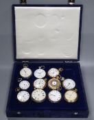 A group of assorted fob and pocket watches including silver and base metal.