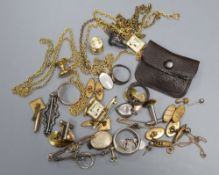 A 9ct gold signet ring, 3.5 grams, four assorted bar brooches, an Edwardian silver 'Alice' brooch,