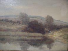 Antoon Markus (1870-1955), oil on canvas, Open landscape with pond, label verso, 30 x 39cm