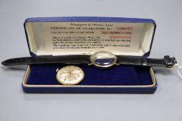 A 9ct gold-cased gentleman's manual wind wristwatch by Mappin & Webb, having silvered dial, baton
