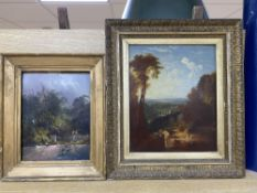 19th century English School, oil on wooden panel, Figures in a river landscape, 24.5 x 20cm and a