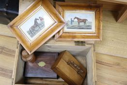 A rosewood sewing box, pine box, two framed sporting prints and treen