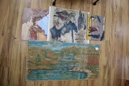 Four Chinese paintings on board, unframed, largest 51 x 121cm