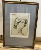Attributed to Augustus John (1878-1961), charcoal on paper, Sketch of a lady, label verso