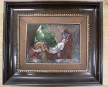 """A Sevres Limoges style porcelain plaque """"Atala au tombeau"""", inscribed to reverse, plaque 18 x 24cm"""
