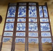 A Chinese blue and white porcelain four-fold low screen, 19th century, height 82cm, losses and
