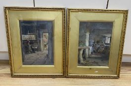 S. Dockery (19th C.), pair of watercolours, Cottage interiors, signed, 33 x 23cm