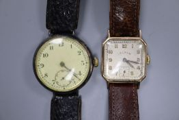 A gentleman's 9ct gold Lecram manual wind wrist watch and a similar early 20th century silver