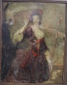 A 19th century reverse painted print on glass of a shepherdess, 36cm high including moulded wood