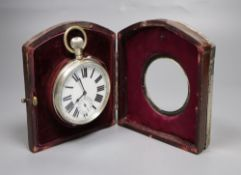 An Edwardian planished silver mounted travelling watch case, with pocket watch, Henry Matthews,
