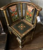 An Indian painted childs corner chair, width 52cm, depth 48cm, height 64cm