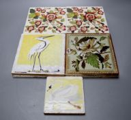 Six Victorian transfer printed ceramic tiles, each 15cm sq. and three painted tiles