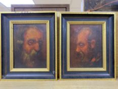 Continental School, pair of oils on canvas, Studies of bearded men, 22 x 16cm
