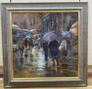 Roger Dellar (Wapping Group), oil on canvas, 'Rain in the Market, Umbria', signed, Mall Gallery