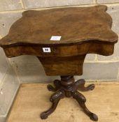 A Victorian burr walnut work table, width 50cm, depth 40cm, height 68cm