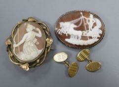A pair of 18ct gold cufflinks, 7.2 grams and two Victorian cameo brooches.