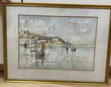 Harry Wanless (1873-1934), watercolour, Fishing boats in harbour, signed, 23 x 33cm