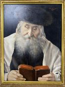 Otto Eichinger (1922-2004), oil on panel, Rabbi reading the bible, signed, 26 x 19cm