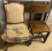 A 19th century French walnut side chair and one other Continental chair