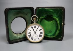 A George V silver mounted travelling watch case, with pocket watch, A& J Zimmerman, Birmingham,