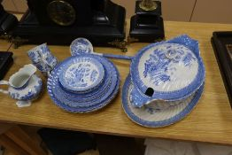 A blue and white Samuel Alcock china, plates, cups and saucers, soup tureen, ladle and dish