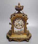 A French ormolu and sevres style porcelain mounted mantel clock, late 19th century, 31.5cm high