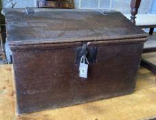 An 18th century oak slant front bible box, width 66cm, depth 38cm, height 43cm