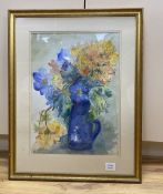 Sheila Cavell Hicks, watercolour, Azalea and the blue blossoms, signed and dated '89, 50 x 37cm