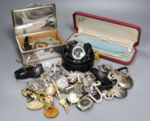 Mixed costume jewellery and other items including assorted wrist watches and stylish Danish candle