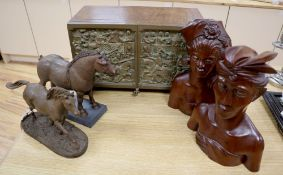 Heredities cold cast bronzes (two horses), oak cabinet, width 41cm with cold cast bronze doors and