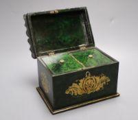 A Victorian simulated malachite papier mache tea caddy, width 16cm