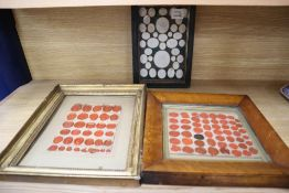A framed group of intaglios and two framed groups of seals