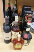 Sixteen bottles of assorted wines and spirits and ports including Dufftown Glenlivet and Glenfiddich