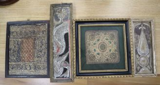 Two Indian mica panels, a silk thread panel and another, largest 33 x 8cm