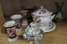A group of English porcelain vessels, c. 1815-1835, including three trumpet shaped spill vases, a