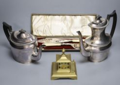 A box of assorted silver plated wares