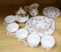 Assorted plated ware including two trays, tea set etc.
