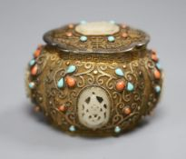 A Chinese gilt metal, jade and coral? mounted box and cover, height 6.5cm