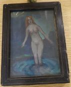 Phelan Gibb (1870-1948), gouache on card, Female bather, inscribed verso, 19 x 13cm