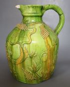 A large Castle Hedingham pottery inscribed beer jug, incised mark modelled by E. Bingham 1829 to