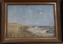 John Doyle, oil on canvas, Fishermen at Dungeness 1976, inscribed verso, 24 x 35cm