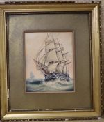 C. Kensington, watercolour, 19th century warship at sea, signed, 17 x 14cm