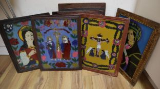 Continental School, eight reverse painted glass panels, Religious scenes, 38 x 29cm approx.