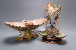 Two 19th century Ginori maiolica shell centrepieces, tallest 23cm